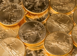tacks of gold eagle one troy ounce golden coins